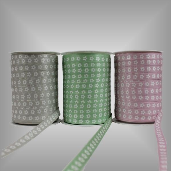 Kräuselband Pastell mit Motiv 10 mm