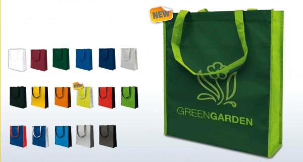 Textiltragetaschen 38 x 42 + 10 cm 1-seitig 2-farbig bedruckt