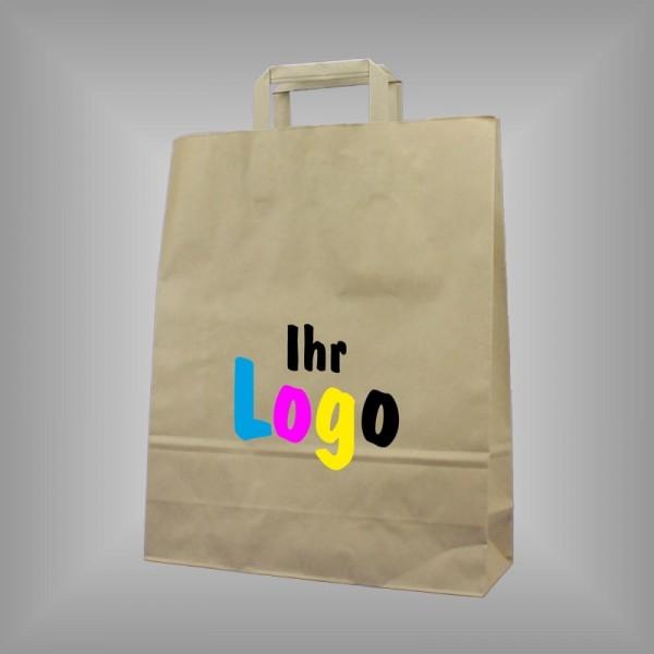 Papiertaschen mit Flachgriff individuell bedruckt