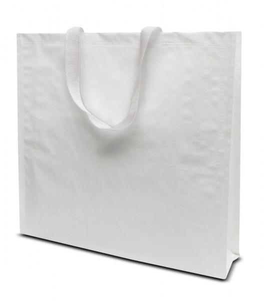 Woventragetaschen 42 x 38 + 10 cm weiß 1-seitig 1-farbig bedruckt