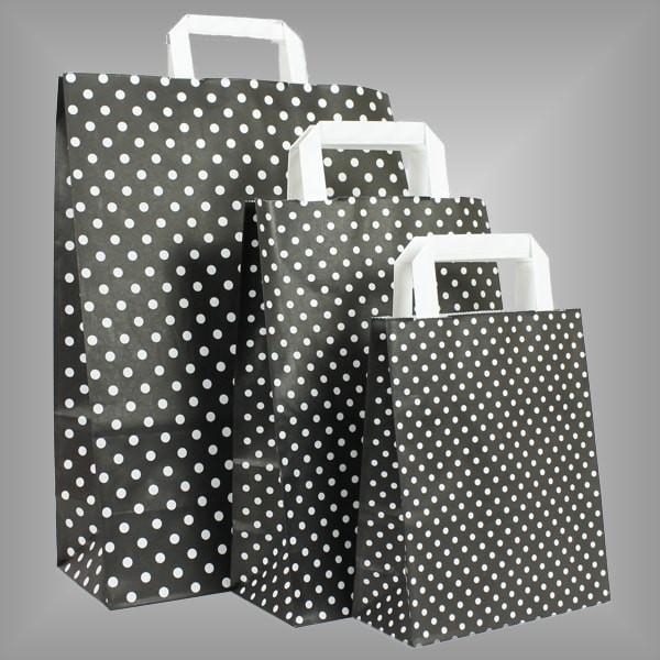 250 Papiertüten schwarz mit weißen Punkten