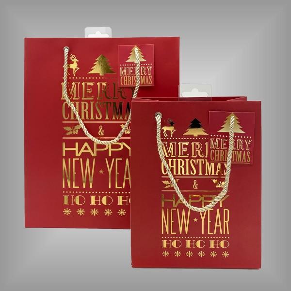"""12 Lacktaschen rot """"Merry Christmas"""""""