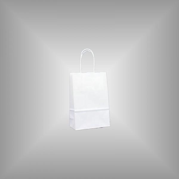 15 x 8 x 20 cm Papiertragetaschen weiß 500 Stück